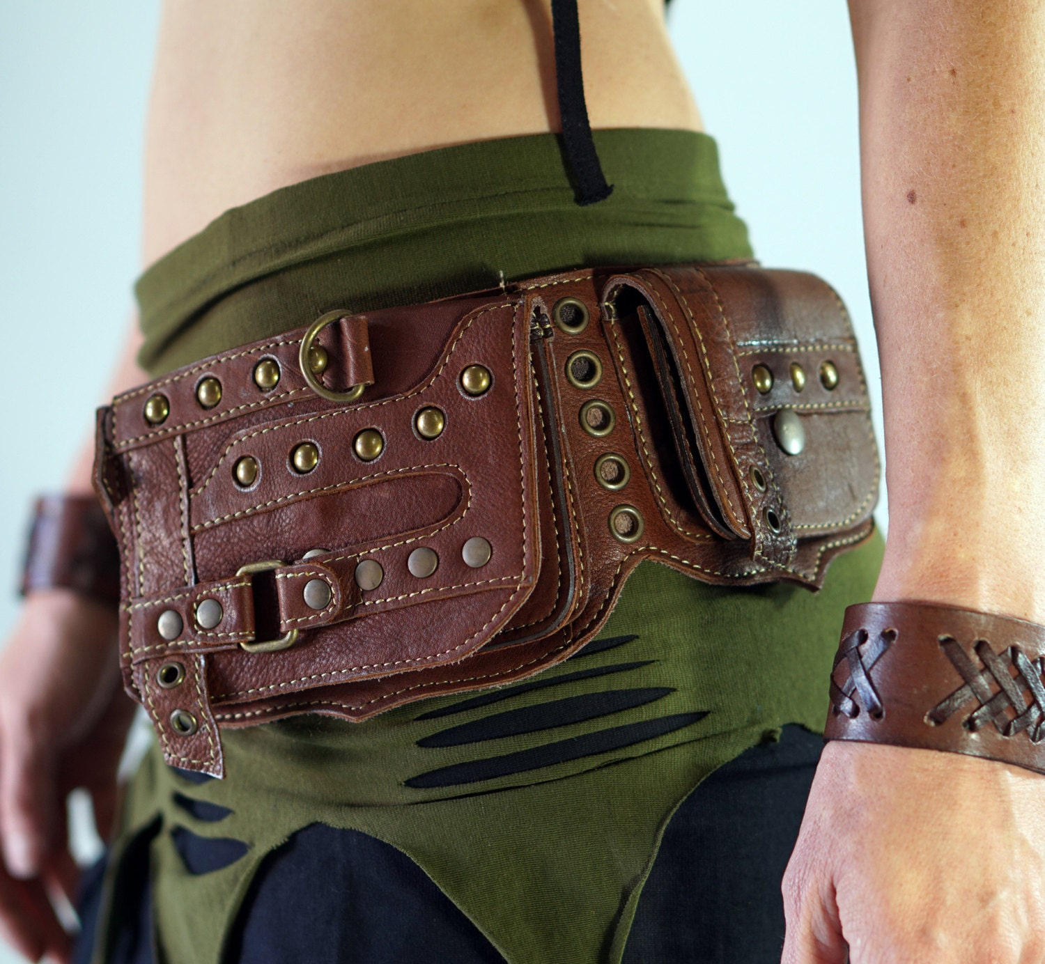 steunk brown handmade leather utility belt with by
