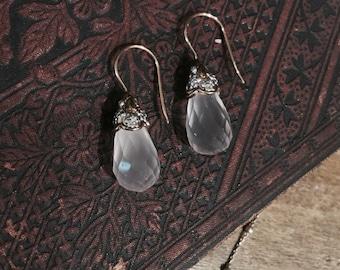 Tear Drop Antique Earrings in Rose Quartz