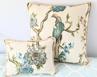 A Stunning Pair of Pillow Covers in Highland Court Plumeria Fabric
