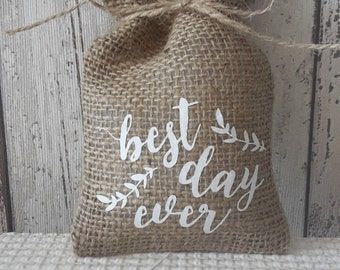 50 Best Day Ever Hessian Favour Bags Burlap Favor Bags Rustic Wedding Christmas Vintage
