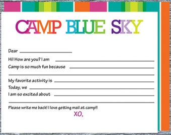 Girl Summer Camp Fill-In Notecards, Personalized Camp Stationery, Sleep Away Camp Note Envelope Set, Custom Printed Camp Notecards for Girls