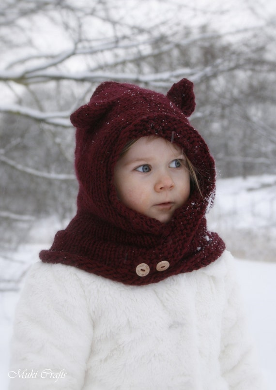 Knitting Pattern Hood With Ears : KNITTING PATTERN hooded cowl Rowan with round ears and ...