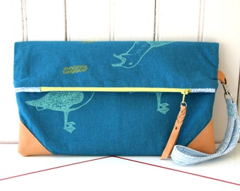 fold over clutch purse, extra large wristlet, hand printed teal blue linen, leather details, fully lined, casual going out bag, seagulls