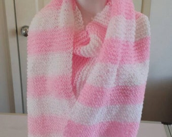 Pink scarf hand knitted scarf in pink and white pink scarf knitted handknitted pink and white scarf extra long scarf  handmade handknitted