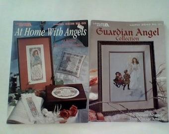 2 Leisure Arts Angel Cross Stitch  Leaflets