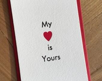 Bespoke Letterpress Love Heart Card