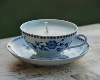 Bavaria, Germany Seltmann Weiden Doris Bavarian Blue tea cup with soy candle in English Garden scent