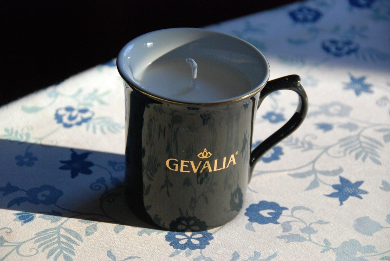 Gevalia coffee mug with soy candle in hazelnut coffee scent
