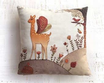 Bambi pillow, Throw Pillow Cover, Home Decor , illustrated pillow , Throw Pillow , ZIPPER CLOSE, Pillow Covers, forest Decorative