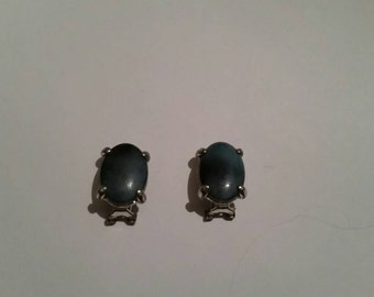 Vintage Silver Blue Stone or Glass  Earrings Costume Jewelry