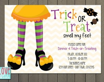 Halloween Trick or Treat party Invitation, Fall, Autumn  - PRINTABLE DIGITAL FILE - 5x7