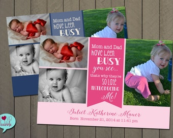 Late Photo Baby Announcement, Late Baby shower, Sip and See - Pink Blue PRINTABLE DIGITAL FILE - 4x6