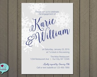 Winter Engagement Party, Rehearsal dinner, Couple's Bridal Baby shower, Invitation, Snowflake, Frozen Tree - PRINTABLE DIGITAL FILE - 5x7