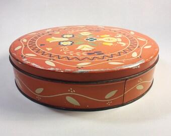 Vintage Pennsylvania Dutch Folk Art Tin, Vintage Canco Orange Cookie Tin