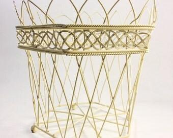 Vintage Chippy Ivory Shabby French Wire Basket, Vintage Cottage Chic Wire Planter Basket