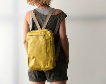 Yellow Leather Bag, Leather Crossbody Bag, Unisex Laptop Bag, Leather Backpack, Convertible Bag, Designer Leather Bag, Up to 15.6'' Laptop
