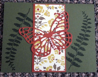 Handmade Sympathy / Apology / Sorry Card in Dark Green with Detailed Butterfly Cut Out