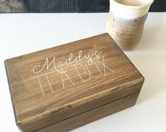 Tea box, personalized tea box, tea storage, wooden tea box