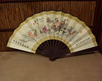 Vintage Chinese Folding Fan Silk Paper and Bamboo Eight Imortals
