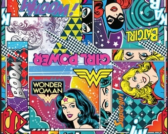 Girl Power, Wonder Woman, Bat Girl Cotton Fabric by Camelot, Comic Collection