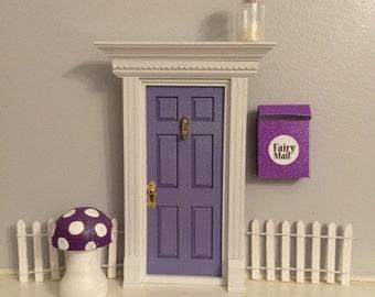 Enchanted Purple glitter fairy door - 3 piece combo