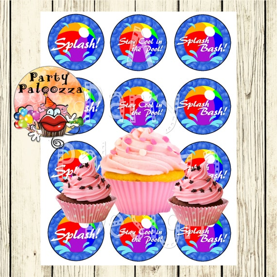 Printable Pool Party Cupcake Toppers