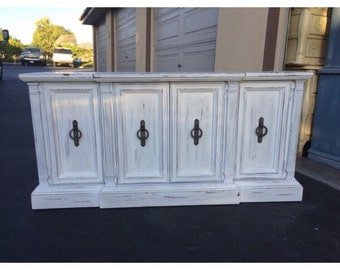 White Distressed, Shabby Chic Credenza, TV Stand, Buffet, Custom Painted Real Wood