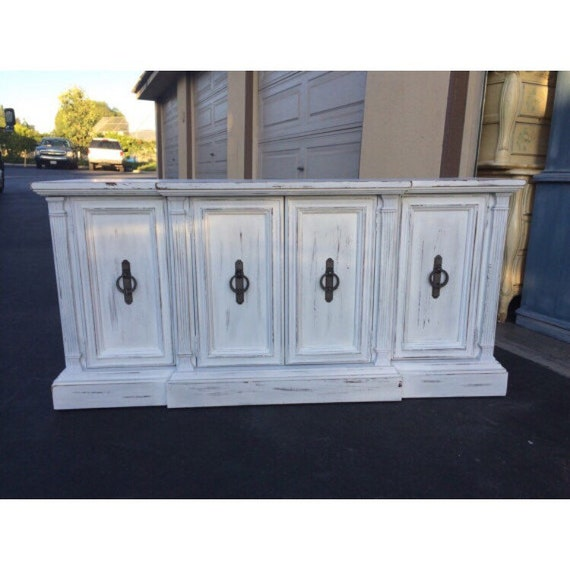 White Distressed Shabby Chic Credenza TV Stand By