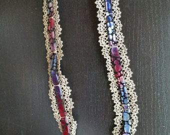Berry Dot Antique Lace Leather