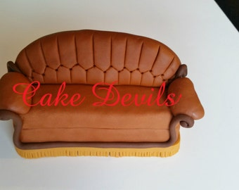 Friends Couch Cake Topper - Fondant, Handmade Edible, Friends TV Show, friends couch, central perk couch, friends cake decorations