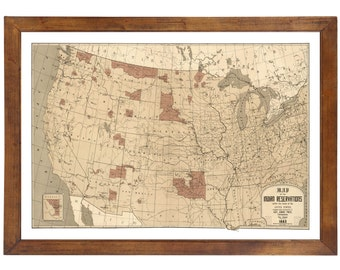 Indian Reservation Etsy - Map of us indian reservations