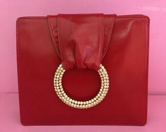 Valentino red leather vintage bag