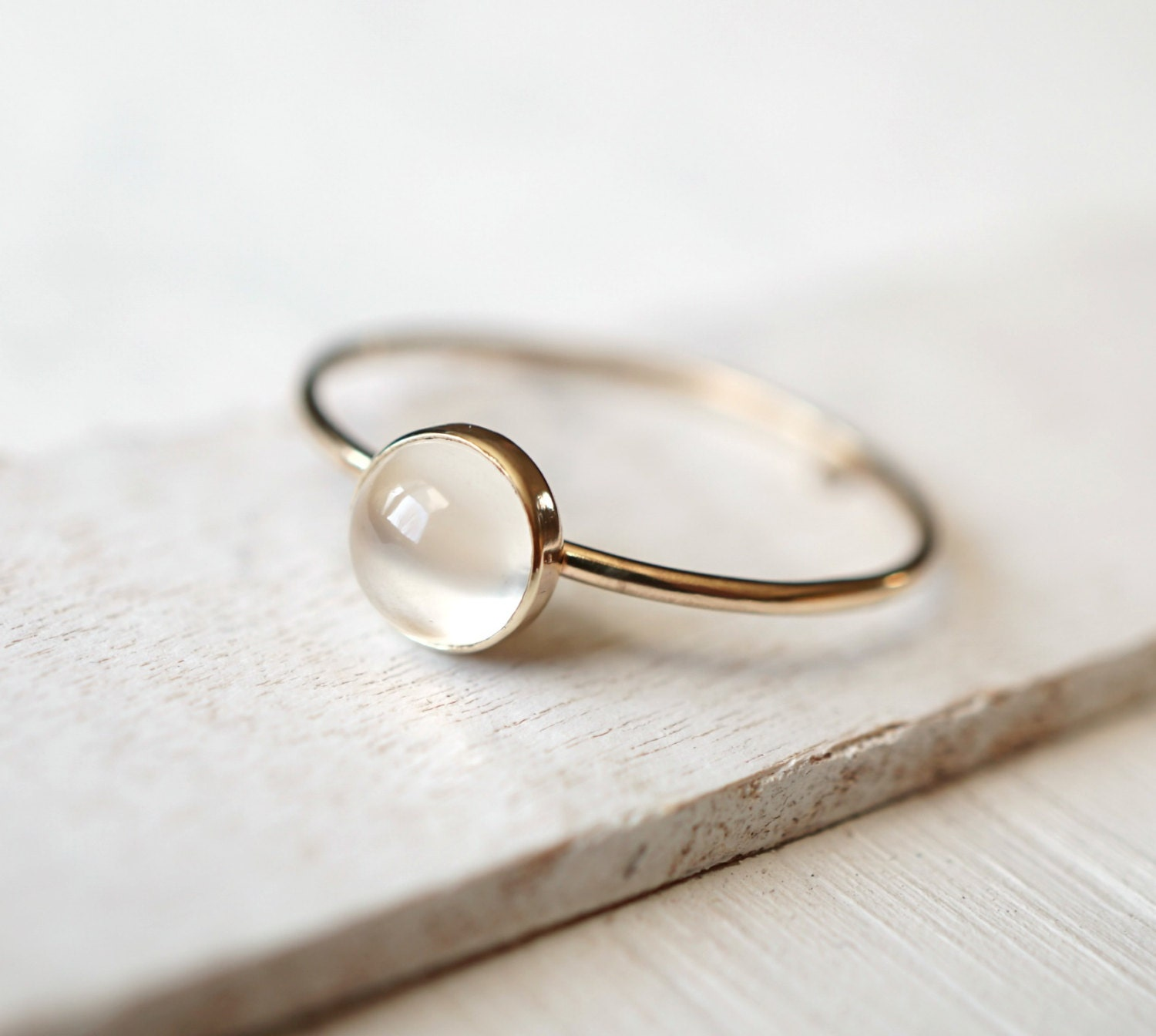 moonstone ring solid gold ring 14k gold ring by luxuring