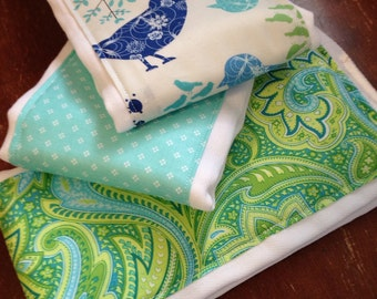 SALE Burp Cloths Birds and Paisley, aqua and green, baby shower