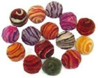 Small 1.8cm Spiral Wool Felt Beads - pack of 15
