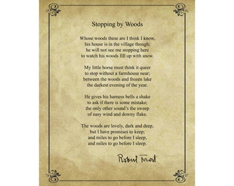 Stopping by Woods by Robert Frost (1923); 16x20 print