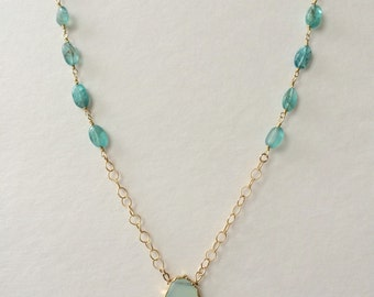 Pale seafoam chalcedony necklace on gold filled and apatite chain.