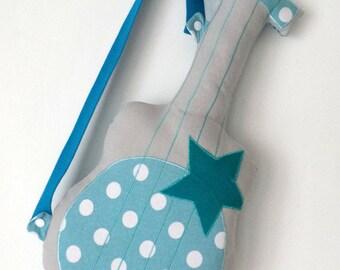 Guitar cushion grey turquoise polka dot