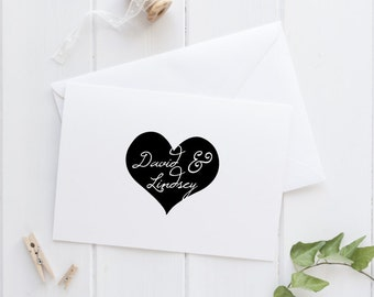 Personalized Heart Card Set with Custom Colors, Wedding Thank Yous, Bridal Shower Cards