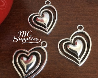 Heart charms, metal heart charms,heart pendant,DIY jewelry,alloy metal charms,silver plated heart charms,jewelry supplies.