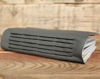 A6 Recycled Leather Scrapbook -  6 x 4 - Soft Leather Journal - Grey Leather - Travel Journal - Mixed Paper Journal - Mixed Pages