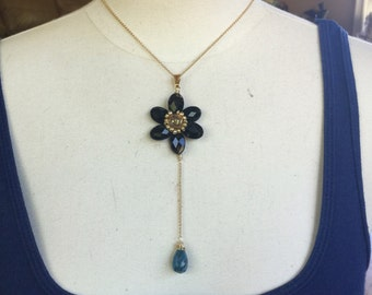 Dangle flower necklace with gold filled chain