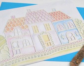 Pastel Row papercut print card