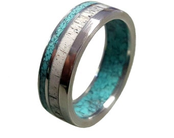 Stainless Steel Ring with Deer Antler and Turquoise Inlays