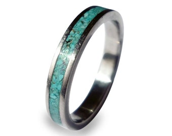Women's Wedding Ring, Titanium Ring with Turquoise Inlay, Crushed Turquoise Ring, Engagement Ring for Women