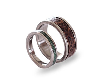Titanium Wedding Band Set, Patina Copper Ring, Titanium Ring with Malachite Inlay, Engagement Rings, His and Hers, Womens Ring, Mens Ring