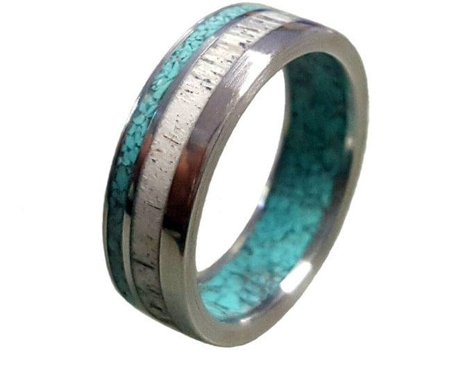Titanium Ring with Deer Antler and Turquoise Inlays