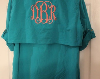 Monogrammed Fishing Shirts-- SIZE MEDIUM--Long Sleeves / Monogram/Cool Summer Shirt /Swimsuit Cover Up/ Bridesmaid Gift!