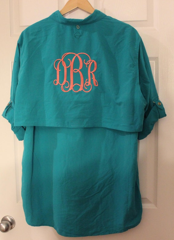 Monogrammed fishing shirts size mediumlong sleeves for Monogram fishing shirt