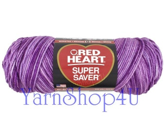 PURPLE TONES Red Heart Super Saver, purple variegated , 5oz acrylic yarn, purple ombre yarn, purple multi color worsted weight (24 avail)